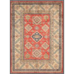 "8'x10'10"" @Overstock - With a distinctive style, a gorgeous area rug from Afghanistan will add some splendor to any decor. This Kazak area rug is hand-knotted with a geometric pattern in shades of salmon, ivory and gray.http://www.overstock.com/Worldstock-Fair-Trade/Afghan-Hand-knotted-Kazak-Salmon-Ivory-Wool-Rug-8-x-1010/7658357/product.html?CID=214117 $1,449.99"