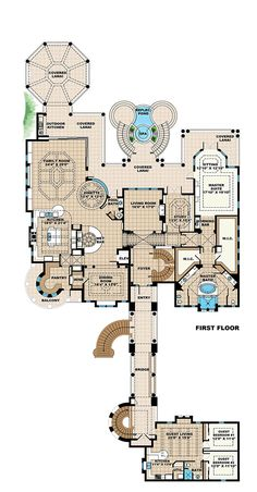 Coastal Mediterranean House Plan 75984 Level One