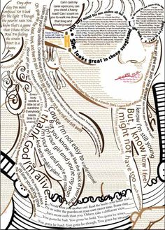 Another great typography illustration (self-portrait): Soulful Songs. by Kelsey Rousseau, via Behance Typography Portrait, Typography Art, Creative Self Portraits, Typographic Design, Art Sketchbook, Magazine Design, Love Art, Collage Art, Collages