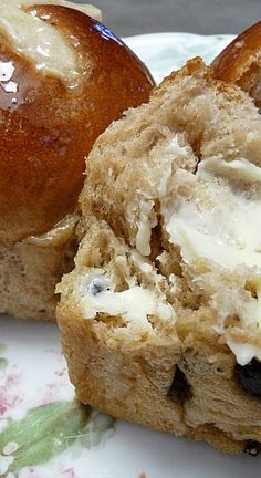 Hot Cross Buns and Bread ~ Easy recipe for traditional buns or bread. Soft and with just the right spices! Butter optional...lol