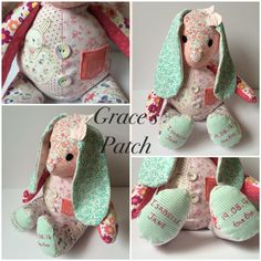 Keepsake Dotty the Rabbit made using baby's first clothing and weighted to her birthweight. She has been finished off with hand embroidery on the feet.