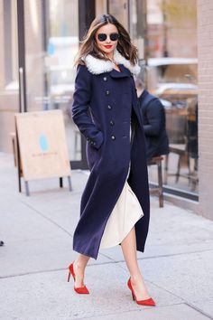 Red White and Blue! Sophisticated full-length coat walking the streets on her way to work. Simply stunning 2016