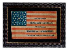 """1864 Lincoln and Johnson presidential campaign parade flag recycled from an 1860 John Bell, Constitutional Union Party Flag with 35 stars arranged in a unique variant of a """"pentagon"""" or """"heart"""" medallion  flag: 16.25"""" x 27"""""""
