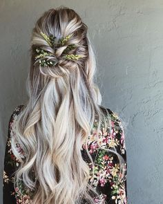 Braids half up down hairstyle, boho hairstyle, updo, wedding hairstyles frisuren haare hair hair long hair short Braid Half Up Half Down, Wedding Hairstyles Half Up Half Down, Wedding Hair Down, Wedding Hairstyles For Long Hair, Wedding Hair And Makeup, Wedding Updo, Bride Hairstyles Down, Blonde Hairstyles, Braid Hairstyles