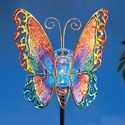 """Solar Glass Ball Butterfly Stake Garden Decor Beautiful glass butterfly features bright colors that sparkle day and night. The solar-powered glass ball in the middle is lit with LED white light and adds a warm glow to the colorful wings. Includes 1 """"AA"""" rechargeable battery. Glass, iron. 7 1/4""""L x 3 3/4""""W x 43""""H.$14.99 http://savewithusdeals.blogspot.com/"""