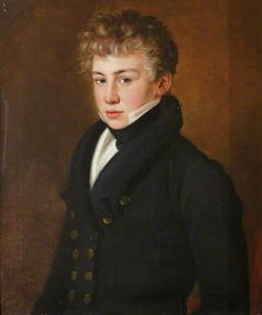 Portrait of a young man of the Bazely family, English School, oil on canvas, c. 1820.