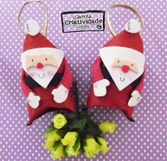 ♥ Enfeites de natal reciclados: Papai Noel com reciclagem de rolinho de papel higiênico  http://www.garotacriatividade.com/enfeites-de-natal-reciclados/  #natal #xmas #christmas #reciclagem #recycle #artesanato #craft #diy