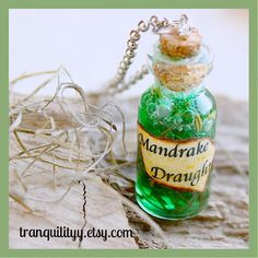 Mandrake Draught Necklace Harry Potter Inspired by tranquilityy
