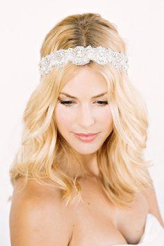 FAUNA Headband-  floral, bridal, rhinestone, crystal, veil, wedding, tiara, headpiece