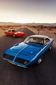 1969 Dodge Charger Daytona and 1970 Plymouth Superbird Porsche, Audi, Plymouth Superbird, Plymouth Cars, Dodge Muscle Cars, Ferrari, Plymouth Road Runner, 1969 Dodge Charger Daytona, Toyota