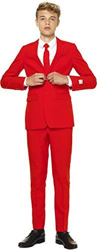 Teen Boys Party Suit and Tie by OppoSuits - 16, Red Devil