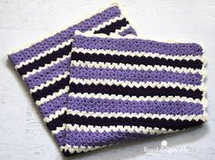 Crochet Cluster V-Stitch Striped Blanket with Shell Border - Repeat Crafter Me