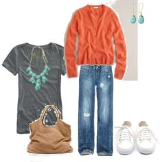 I love the use of turquoise jewelry, which I have a ton of to go with a lovely orange cardi, which I now totally want.
