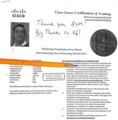 We are proud of our student! He has passed his #cisco exam! Congratulations!  #asmeducationalcenter #asmchangelives #ittraining #certification #network #pinscore