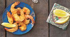 Store rejer dyppet i en slags tempuradej og friteret, så de er stegte udenpå og bløde indeni. Opskrift er udviklet af Vibeke Lehn, som ofte er i Spanien.