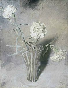White CarnationsSir William Nicholson White Carnations circa 1924 oil on canvas signed with monogram & dated lower right 18 ½ x 14 ¾ in/ 47 x cm Grey Art, White Art, William Nicholson, Winifred Nicholson, Still Life Artists, White Carnation, Still Life Flowers, Matisse, Painting Still Life