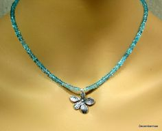 Apatite Rondelle Necklace with Sterling Silver by DecemberMae, $40.00