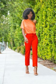 Tangelo Draped Off Shoulder Blouse, Tomato Cigarette Pants // Style Pantry Corporate Outfits, Business Outfits, Office Outfits, Stylish Outfits, Cute Outfits, Red Jeans Outfit, Daily Fashion, Retro Fashion, Fashion Pants