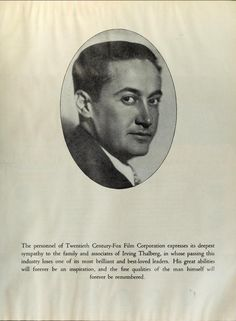 MGM pays tribute to Irving Thalberg Old Hollywood Movies, Hollywood Icons, Golden Age Of Hollywood, Irving Thalberg, Norma Shearer, Pre Code, Old Movies, Movie Stars, Legends