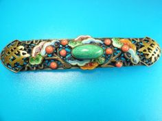 ANTIQUE-ART-DECO-CZECH-MAX-NEIGER-CHINESE-STYLE-ENAMEL-FAUX-CORAL-JADE-BROOCH