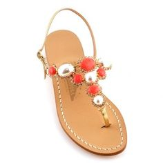 Canfora Janina Sandals. Handmade in Capri- these bejeweled sandals can dress up a simple outfit and add a touch of glamour.