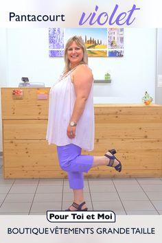 Magnifique pantacourt violet qui porte haut et fort les couleurs de l'été. 65 % coton, il est taille élastique pour un confort absolu. #coton #confort #belleenxl #ronde Violet, Summer Dresses, Fashion, Plus Size Clothing, Elastic Waist, Man Women, Colors, Top, Cotton