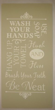 Bathroom Rules Typography Wall Art Word Art by CottageSignShoppe,