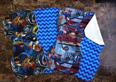 Superhero and chevron set of four bandana bibs and four burp cloths on Etsy, $40.00
