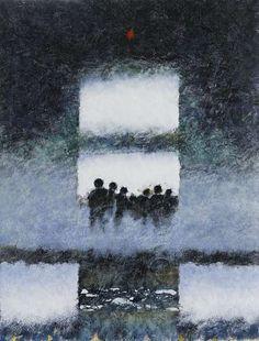 Pierre Converset  sans titre 80x60 cm encaustique sur panneau