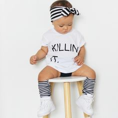 Headband: Archnollie Tshirt: Little Urban Apparel Socks: Factory Sneakers: Nike Urban Outfits, Matilda, To My Daughter, Urban Apparel, Model, T Shirt, Baby, Sneakers Nike, Socks