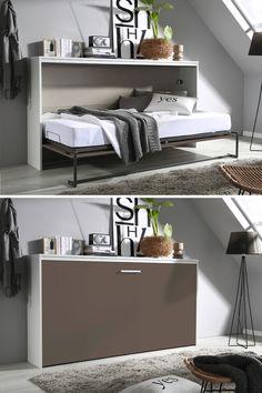 Wenn Sie wenig Platz in Ihrer Wohnung oder dem Gästezimmer haben, wird Ihnen ein platzsparendes Möbel wie das weiß-graue Klappbett ALBERO gefallen. Denn mit seinen Maßen von ca. 214 x 115 x 40 cm (B x H x T) passt es hervorragend auf engen Raum. Ausgeklappt wird es per alufarbenem Bügelgriff. So bietet es eine Liegefläche von etwa 90 x 200 cm. Praktisch: Das Bett besitzt ein bis zu 100 kg belastbares Lattenrost, das Sie nur noch mit einer Matratze Ihrer Wahl bestücken müssen. Modern, Bench, Storage, Design, Furniture, Home Decor, Space Saving Furniture, Space Saving, Mattress