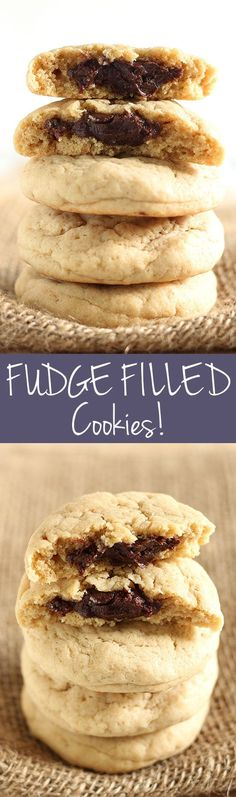What's better than a cookie stuffed with FUDGE?! Fudge Filled Cookies are made ultra soft with brown sugar, cream cheese, and a rich surprise fudge filling. DELISH recipe.