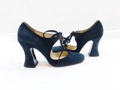 Vintage BIBA PLATFORM MARYJANE Black Heels With Ties by Douvintage