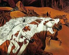 Four Wolves by Judy Larson, a wildlife camouflage artist, a collection of art with horses and wolves with concealed hidden images.