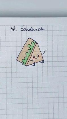 Cute Doodles Drawings, Cute Easy Drawings, Art Drawings For Kids, Easy Sketches For Beginners, Doodle For Beginners, Mini Doodle, Cute Doodle Art, Sandwich Drawing, Creative Bookmarks