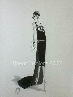 Fashion Art Illustration 1920s Art Deco Decor by LinearFashions, $32.00