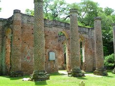 Old Sheldon Church Ruins in Yemassee, SC. This ruin is more brick than tabby, but it is an attractive site popular for weddings. (Photo by Cheryl Warren) Oyster Shells, South Carolina, Concrete, Brick, Outdoor Structures, Muhammad, Cheryl, African, Popular