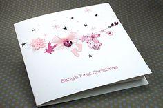 """Handmade Christmas Card """"Baby's First Christmas - Girl"""""""