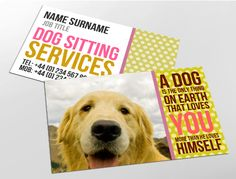 Contemporary business card design, ideal for independent pet sitters. Customise a range of business card templates online for print at www.brunelone.com/premium-business-cards/designs