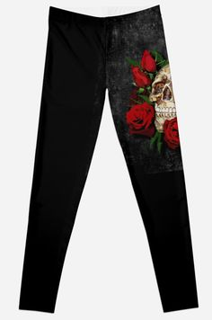 Red Rose Sugar skull  Leggings #Leggings #clothing #skull #skeleton #dayofthedead #diasdemuertos #jackskellingtons #halloween #scary #thenightbeforechristmas #animal #bone #tattoo #hippie #hipster #aztec #maya #indian #mexico #mexican #hauntedmansion #ghost #monster #flower #rose #sugarskull