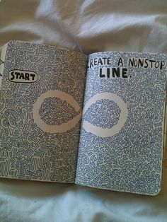 Wreck this journal Create A Nonstop Line I am also doing this so plz tell me if u do it it is fun and easy
