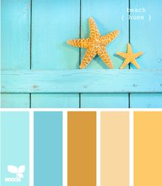 A beach inspired color pallet doesn't have to be all neutral shades. Instead, use the mild colors to show-off your bolder colors. These brights are a great example.