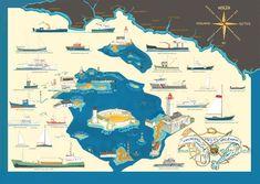 2014, les navires de la baie de la Forêt Surfing, Scene, Illustration, Brittany, Sailor Theme, Atelier, Dinghy, Sailors, Archipelago