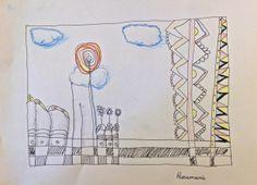 Doodle -colorierte Zeichnung - Rosemarie