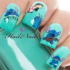 Lilo & Stitch Nail Art Wraps Water Transfers Decals Salon Related Post Washing your face with sparkling water (carbonated. How to Get a Blue Gingham Nail Manicure summer nail and hair inspiration We are want to sa. Cute Nail Art, Easy Nail Art, Cute Nails, Disney Acrylic Nails, Cute Acrylic Nails, Disney Nail Designs, Cute Nail Designs, Cute Stitch, Lilo Stitch