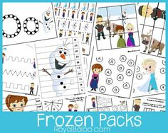 FREE Frozen Packs - printables  They also have superhero pages.  Math / Reading, preschool - 3rd