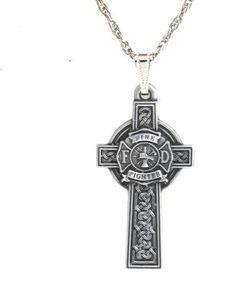 Pewter Firefighter Celtic Maltese Cross Pendant | Shared by LION