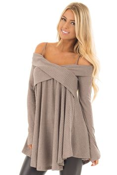 4356964f10259 Lime Lush Boutique - Mocha Waffle Knit Criss Cross Top with Bare Shoulders