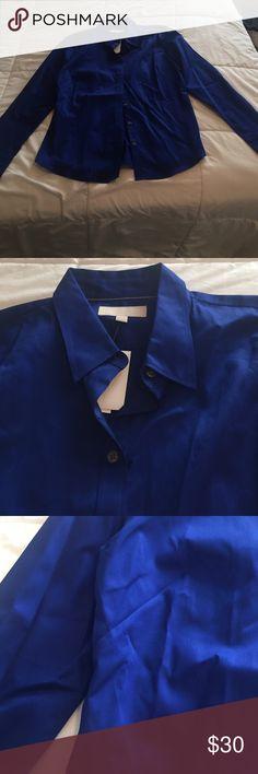 Blue Banana Republic button down shirt Vibrant blue Banana Republic button down shirt. Brand new, never worn! Banana Republic Tops Button Down Shirts