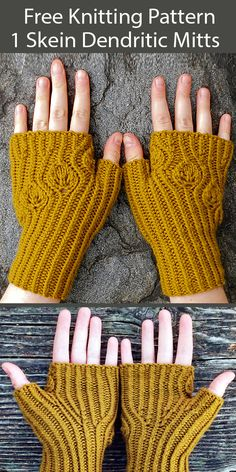 One Skein Fingerless Mitts Knitting Patterns - In the Loop Knitting Beginner Knitting Patterns, Knitting For Beginners, Knit Patterns, Free Knitting, Knitting Projects, Fingering Yarn, Fingerless Gloves Knitted, Sock Yarn, Socks